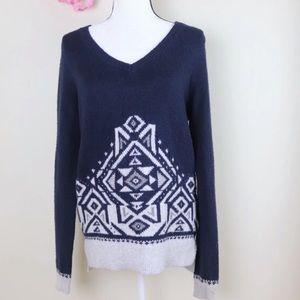 Navy Grey Aztec Tribal Sweater